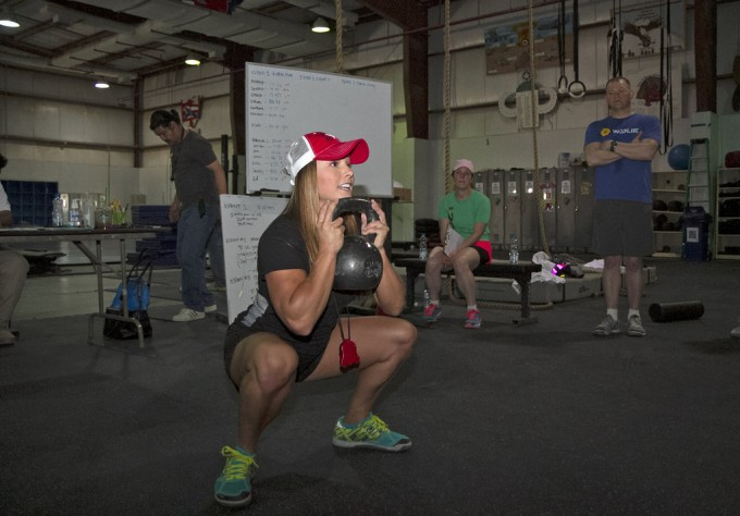 sumo squat with kettlebell